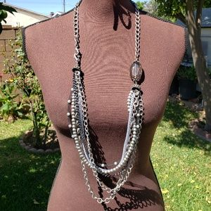 Long Silver Chain Mesh Pearls Pendant Necklace Set